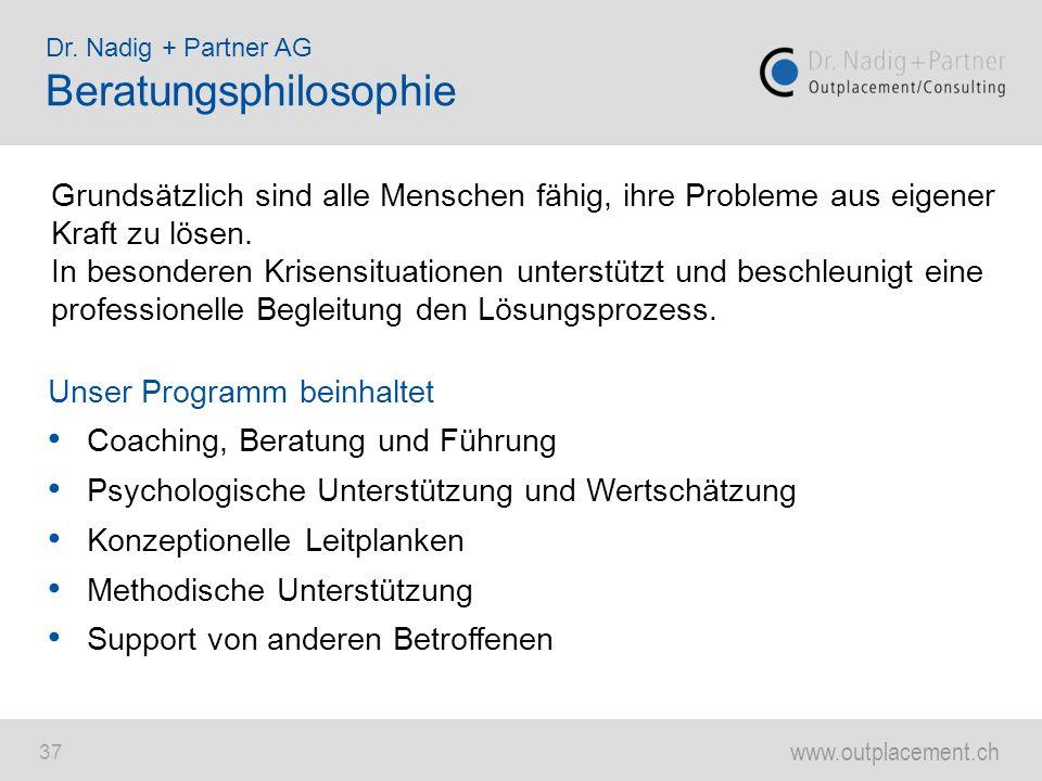 www.outplacement.ch 37 Dr. Nadig + Partner AG Beratungsphilosophie Grundsätzlich sind alle Menschen fähig, ihre Probleme aus eigener Kraft zu lösen. I