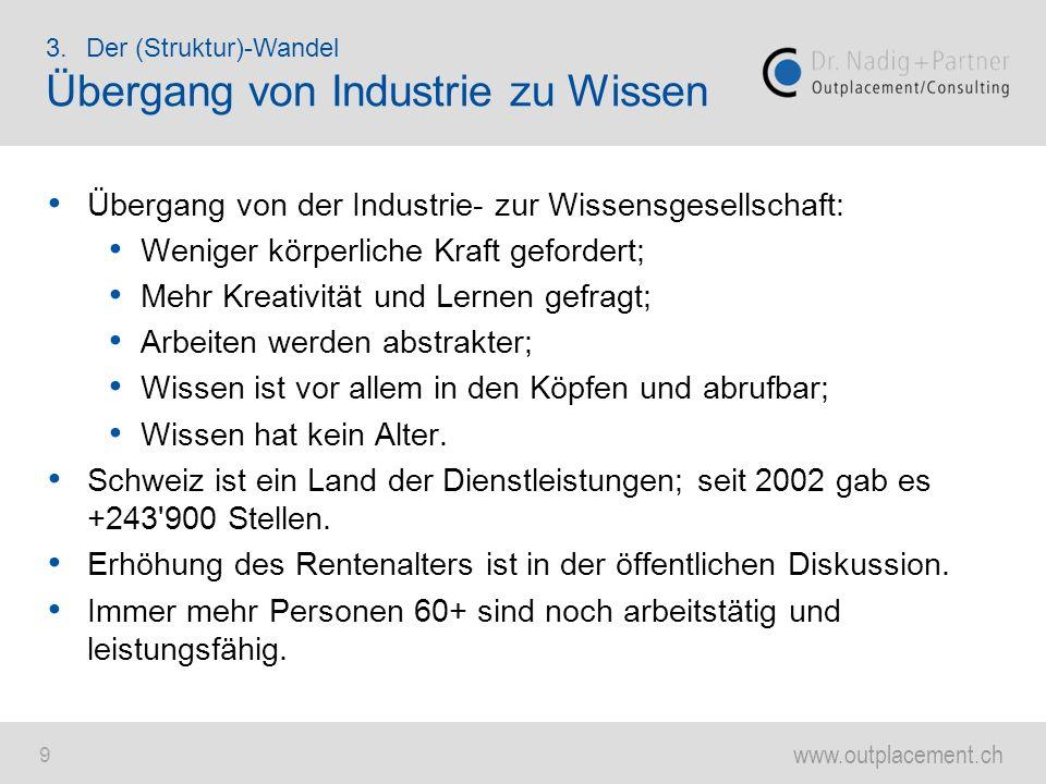 www.outplacement.ch 9 Übergang von der Industrie- zur Wissensgesellschaft: Weniger körperliche Kraft gefordert; Mehr Kreativität und Lernen gefragt; A