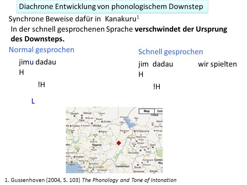 Diachrone Entwicklung von phonologischem Downstep Analogie zu Segmenten Entwicklung von /mɛ̃/ (main) im Französischen aus Latein manus. 1. /a/ in manu