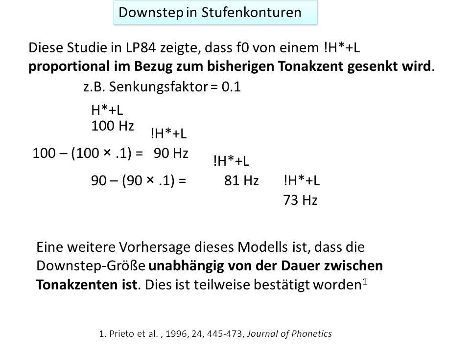 Automatischer post-lexikalischer Downstep: Stufenkontur H*+L !H*+L Deustsche Beispiele (aus Grabe, 1998) 2 : Mondbahn, Mondlicht, mondhell, Mondschein