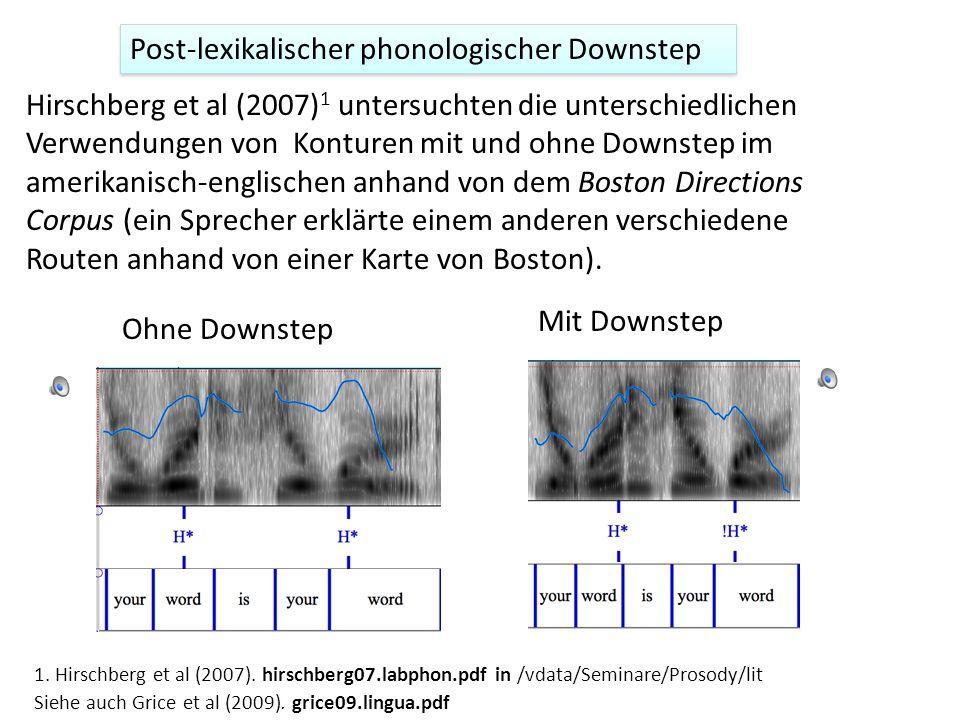 Post-lexikalischer Downstep Die Beispiele von post-lexikalischem Downstep bislang sind alle automatisch, weil sie aus dem Kontext vorhersagbar sind. z
