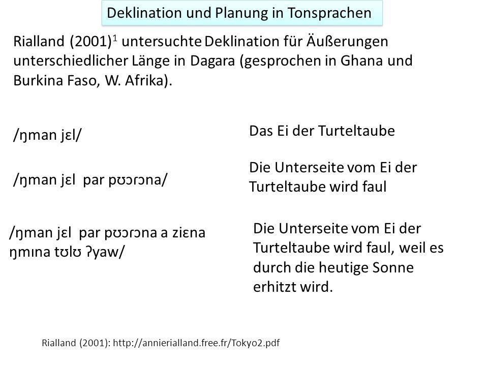 Deklination und Planung Wenn Deklination geplant wird, dann müsste eventuell die Höhe des ersten f0-Gipfels der Phrasenlänge abhängig sein 1 : je läng