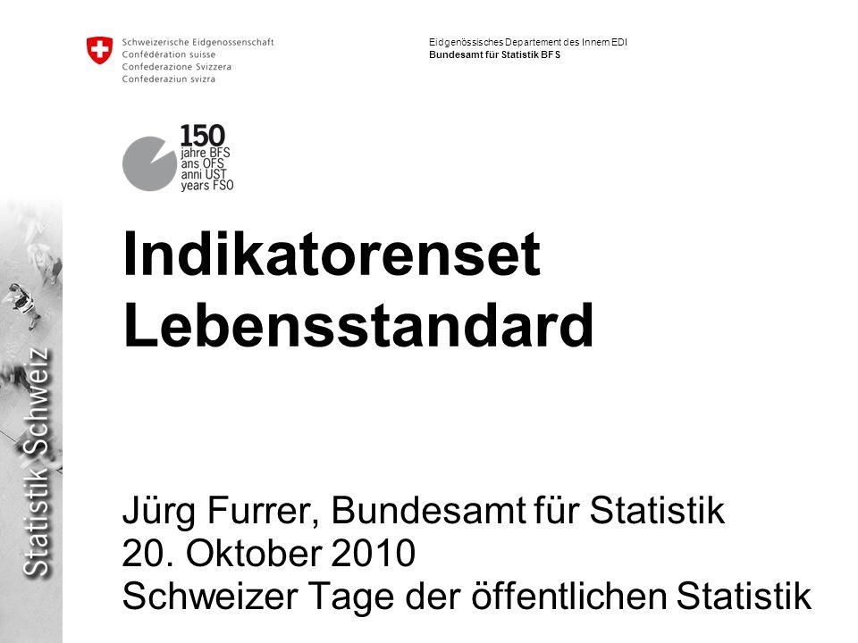 Eidgenössisches Departement des Innern EDI Bundesamt für Statistik BFS Indikatorenset Lebensstandard Jürg Furrer, Bundesamt für Statistik 20. Oktober