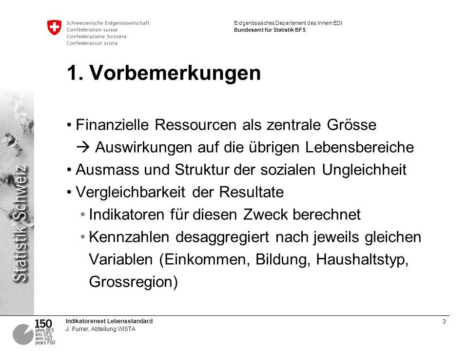 3 Indikatorenset Lebensstandard J. Furrer, Abteilung WISTA Eidgenössisches Departement des Innern EDI Bundesamt für Statistik BFS 1. Vorbemerkungen Fi