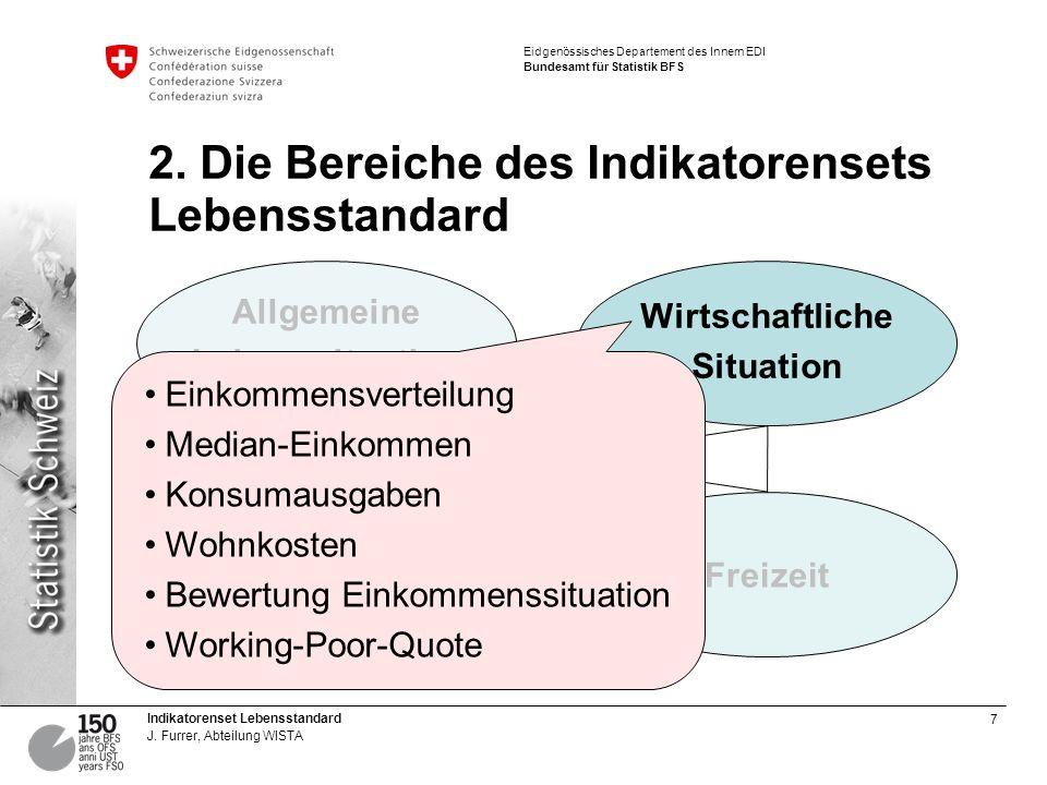 7 Indikatorenset Lebensstandard J. Furrer, Abteilung WISTA Eidgenössisches Departement des Innern EDI Bundesamt für Statistik BFS 2. Die Bereiche des