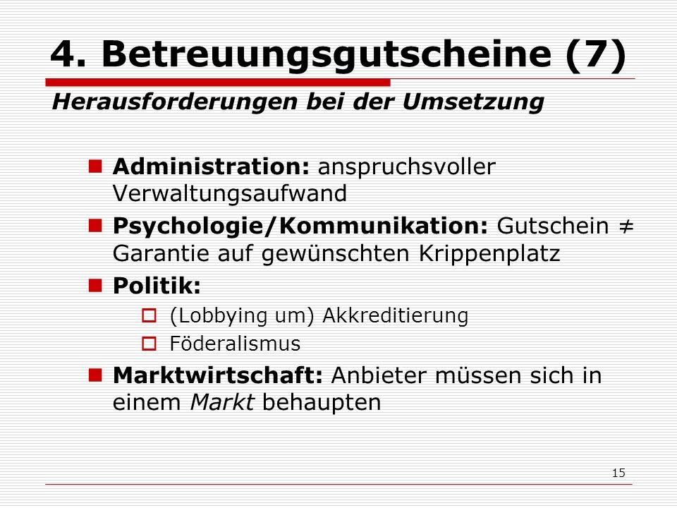 15 4. Betreuungsgutscheine (7) Herausforderungen bei der Umsetzung Administration: anspruchsvoller Verwaltungsaufwand Psychologie/Kommunikation: Gutsc
