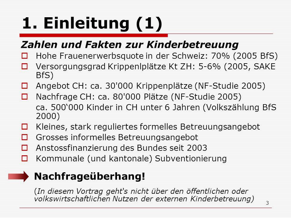 3 1. Einleitung (1) Zahlen und Fakten zur Kinderbetreuung Hohe Frauenerwerbsquote in der Schweiz: 70% (2005 BfS) Versorgungsgrad Krippenlplätze Kt ZH: