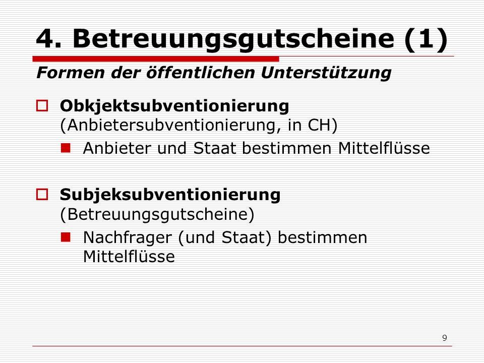 9 4. Betreuungsgutscheine (1) Obkjektsubventionierung (Anbietersubventionierung, in CH) Anbieter und Staat bestimmen Mittelflüsse Subjeksubventionieru