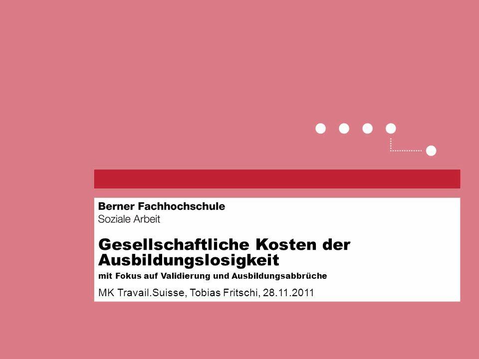 Gesellschaftliche Kosten der Ausbildungslosigkeit mit Fokus auf Validierung und Ausbildungsabbrüche MK Travail.Suisse, Tobias Fritschi, 28.11.2011