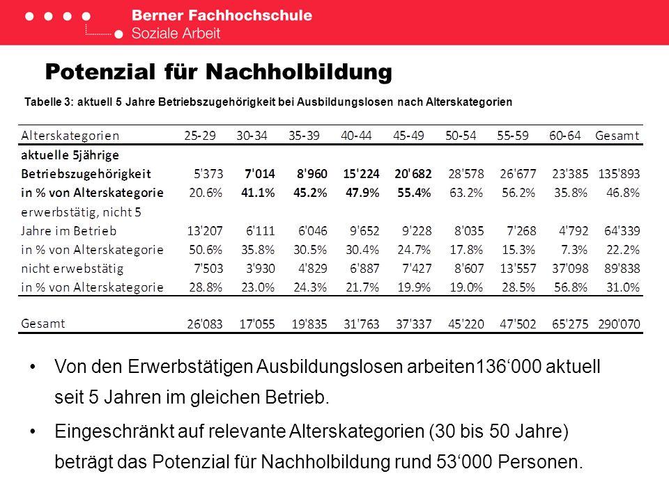 Kosten und Nutzen der Validation des acquis Tabelle 4: Gesellschaftliches Kosten-Nutzen-Verhältnis im Lebensverlauf Ein fehlender Lehrabschluss im Alter von 30 Jahren kostet die Gesellschaft rund 180000 Franken.