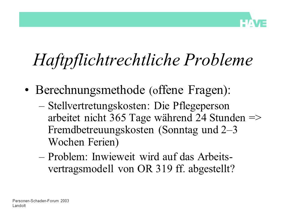 Personen-Schaden-Forum 2003 Landolt Haftpflichtrechtliche Probleme Berechnungsmethode (o ffene Fragen): –Stellvertretungskosten: Die Pflegeperson arbe