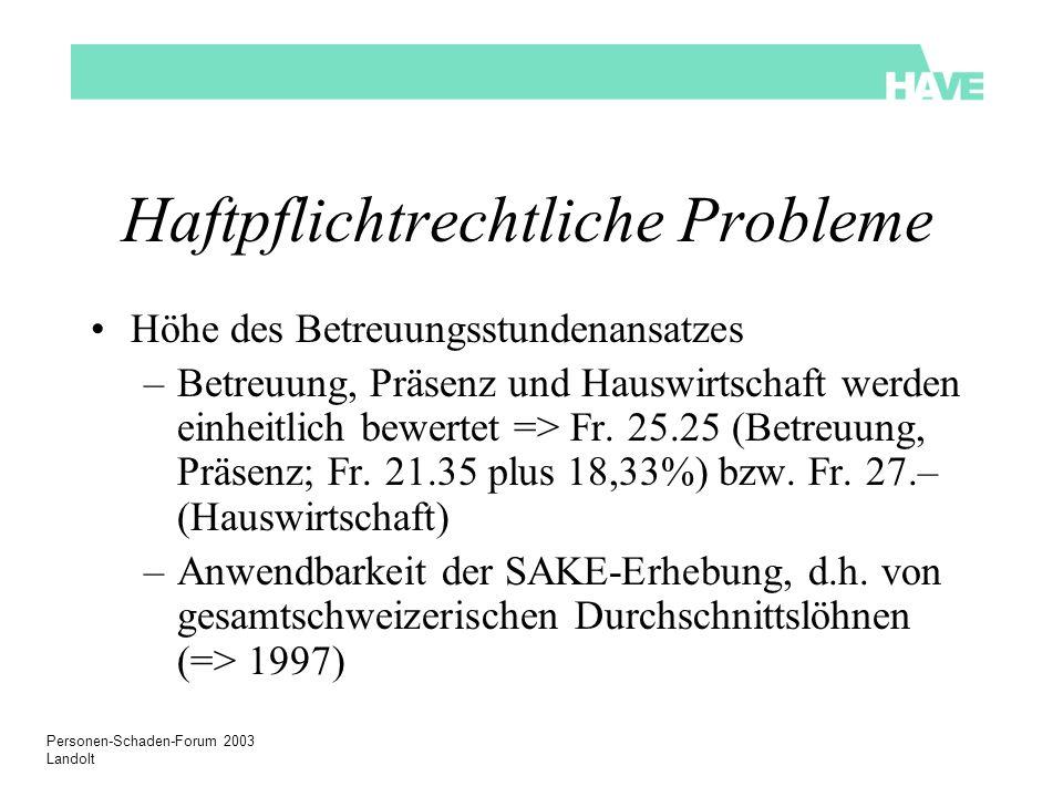 Personen-Schaden-Forum 2003 Landolt Haftpflichtrechtliche Probleme Höhe des Betreuungsstundenansatzes –Betreuung, Präsenz und Hauswirtschaft werden ei