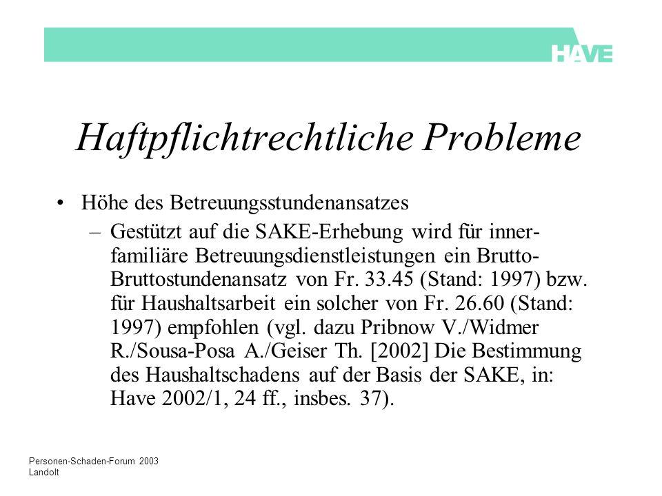 Personen-Schaden-Forum 2003 Landolt Haftpflichtrechtliche Probleme Höhe des Betreuungsstundenansatzes –Gestützt auf die SAKE-Erhebung wird für inner-