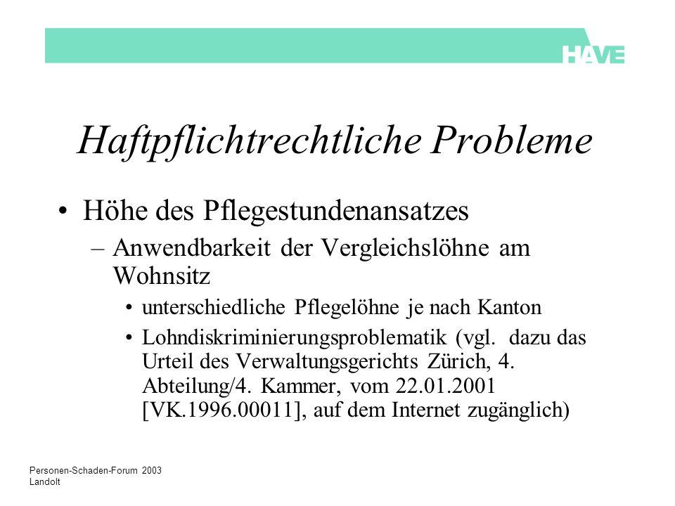 Personen-Schaden-Forum 2003 Landolt Haftpflichtrechtliche Probleme Höhe des Pflegestundenansatzes –Anwendbarkeit der Vergleichslöhne am Wohnsitz unter