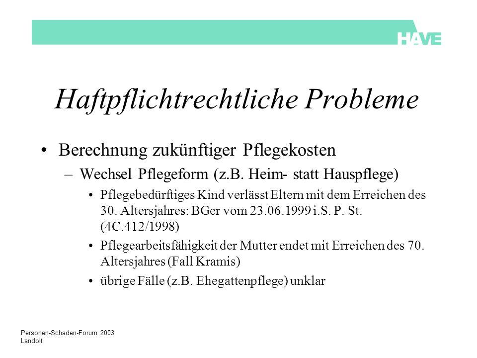 Personen-Schaden-Forum 2003 Landolt Haftpflichtrechtliche Probleme Berechnung zukünftiger Pflegekosten –Wechsel Pflegeform (z.B. Heim- statt Hauspfleg