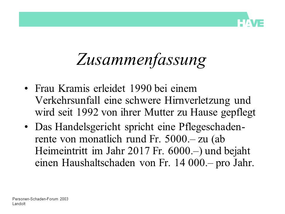 Personen-Schaden-Forum 2003 Landolt Leistungsvergleich: leichte Hilflosigkeit Hilfslosigkeit/Assistenzbedarf + invaliditätsbedingter Betreuungsaufwand Heute Hilflosen- entschädigung oder Pflegebeitrag + evt.
