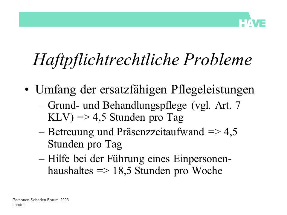 Personen-Schaden-Forum 2003 Landolt Haftpflichtrechtliche Probleme Umfang der ersatzfähigen Pflegeleistungen –Grund- und Behandlungspflege (vgl. Art.