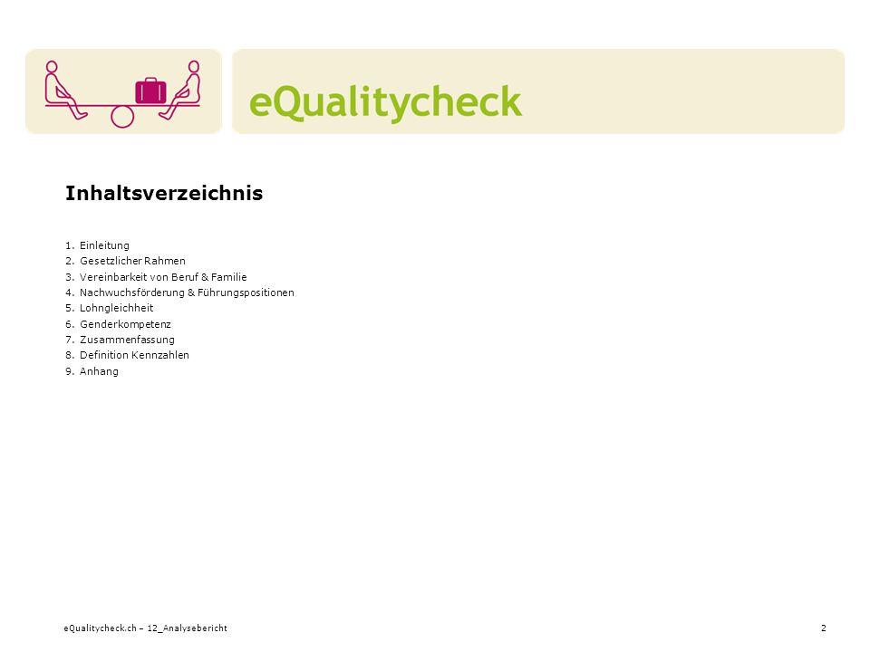 eQualitycheck.ch – 12_Analysebericht2 Inhaltsverzeichnis 1.Einleitung 2.Gesetzlicher Rahmen 3.Vereinbarkeit von Beruf & Familie 4.Nachwuchsförderung &