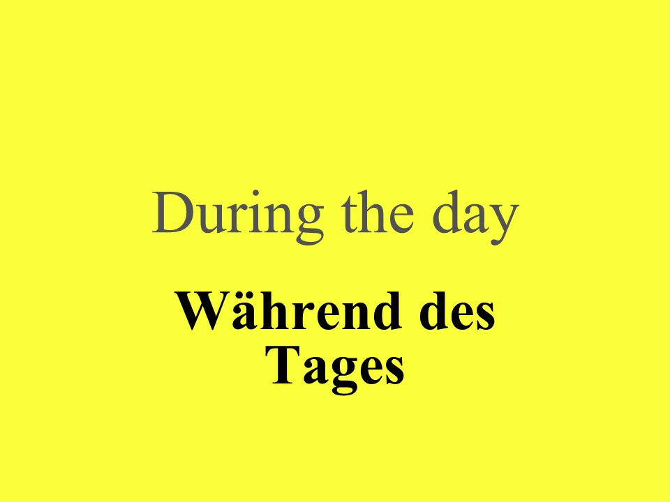 During the day Während des Tages