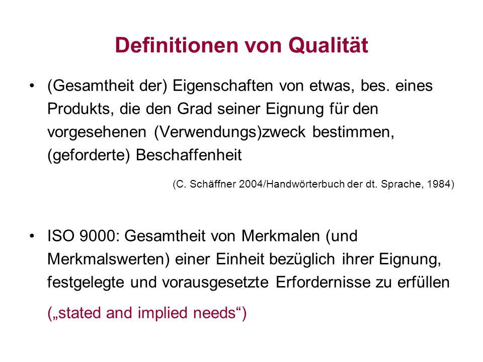 Definitionen von Qualität (Gesamtheit der) Eigenschaften von etwas, bes. eines Produkts, die den Grad seiner Eignung für den vorgesehenen (Verwendungs