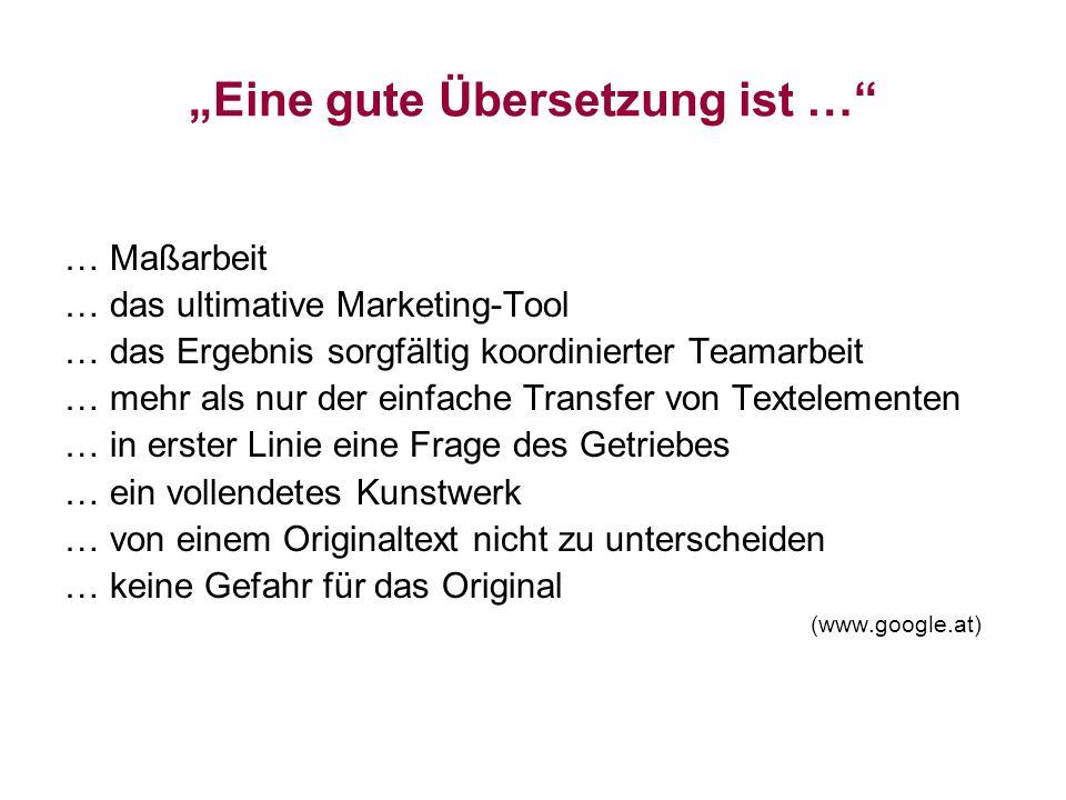 Eine gute Übersetzung ist … … Maßarbeit … das ultimative Marketing-Tool … das Ergebnis sorgfältig koordinierter Teamarbeit … mehr als nur der einfache