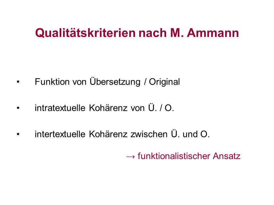 Qualitätskriterien nach M. Ammann Funktion von Übersetzung / Original intratextuelle Kohärenz von Ü. / O. intertextuelle Kohärenz zwischen Ü. und O. f