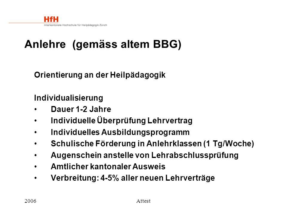 2006Attest Anlehre (gemäss altem BBG) Orientierung an der Heilpädagogik Individualisierung Dauer 1-2 Jahre Individuelle Überprüfung Lehrvertrag Indivi