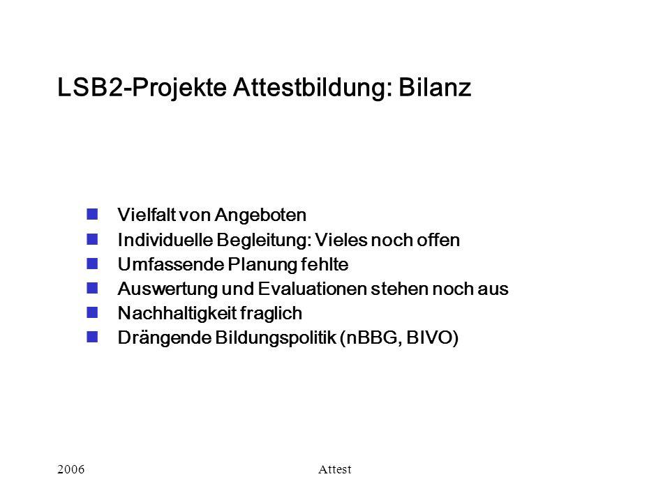 2006Attest LSB2-Projekte Attestbildung: Bilanz Vielfalt von Angeboten Individuelle Begleitung: Vieles noch offen Umfassende Planung fehlte Auswertung