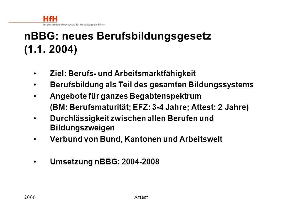 2006Attest nBBG: neues Berufsbildungsgesetz (1.1. 2004) Ziel: Berufs- und Arbeitsmarktfähigkeit Berufsbildung als Teil des gesamten Bildungssystems An