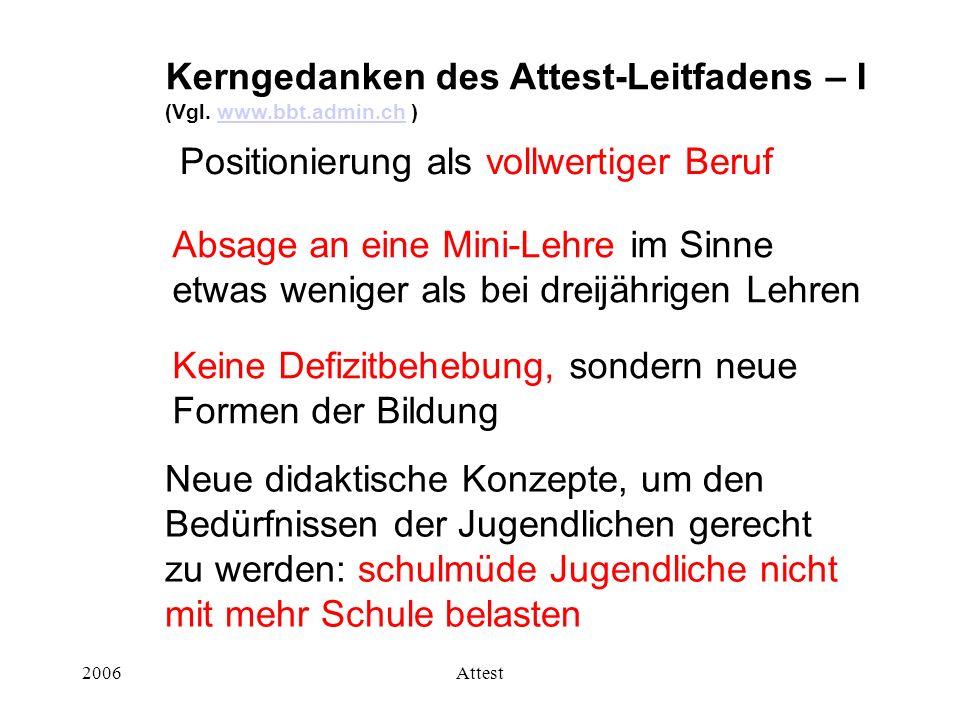 2006Attest Positionierung als vollwertiger Beruf Kerngedanken des Attest-Leitfadens – I (Vgl. www.bbt.admin.ch )www.bbt.admin.ch Absage an eine Mini-L