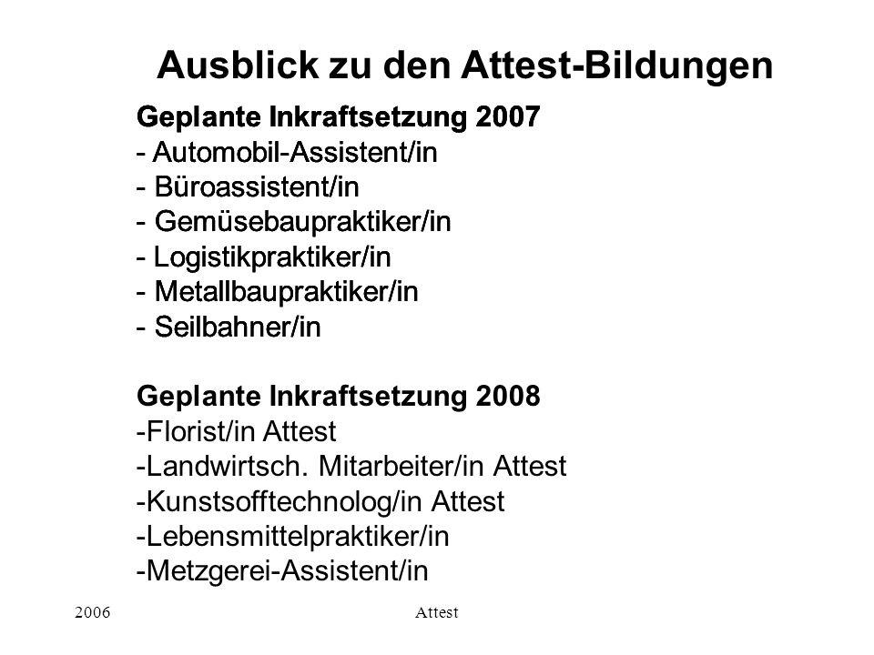 2006Attest Geplante Inkraftsetzung 2007 - Automobil-Assistent/in - Büroassistent/in - Gemüsebaupraktiker/in - Logistikpraktiker/in - Metallbaupraktike