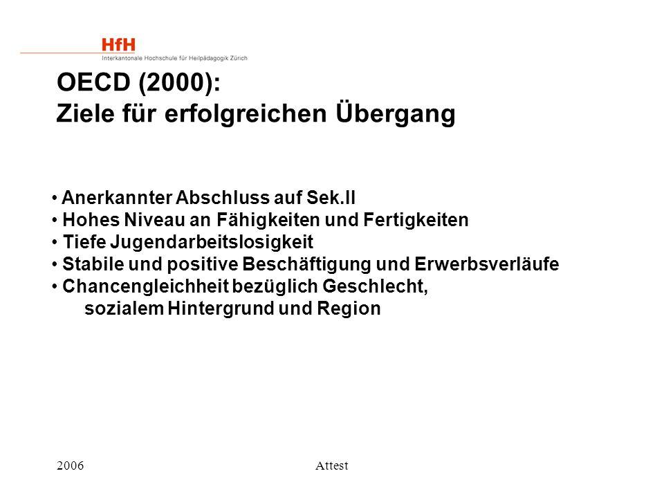 2006Attest OECD (2000): Ziele für erfolgreichen Übergang Anerkannter Abschluss auf Sek.II Hohes Niveau an Fähigkeiten und Fertigkeiten Tiefe Jugendarb