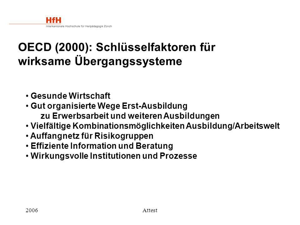 2006Attest OECD (2000): Schlüsselfaktoren für wirksame Übergangssysteme Gesunde Wirtschaft Gut organisierte Wege Erst-Ausbildung zu Erwerbsarbeit und