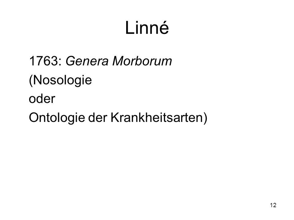 12 Linné 1763: Genera Morborum (Nosologie oder Ontologie der Krankheitsarten)