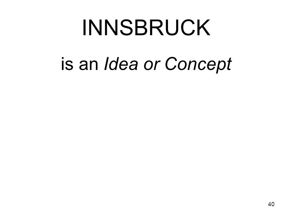 40 INNSBRUCK is an Idea or Concept