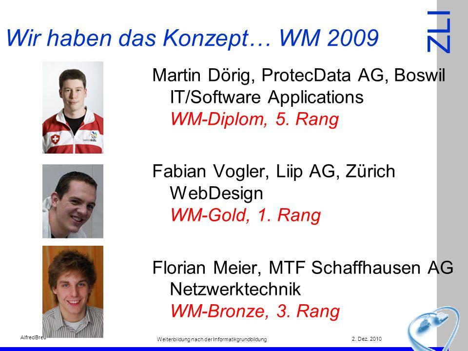 ZLI 2. Dez. 2010 Weiterbildung nach der Informatikgrundbildung AlfredBreu