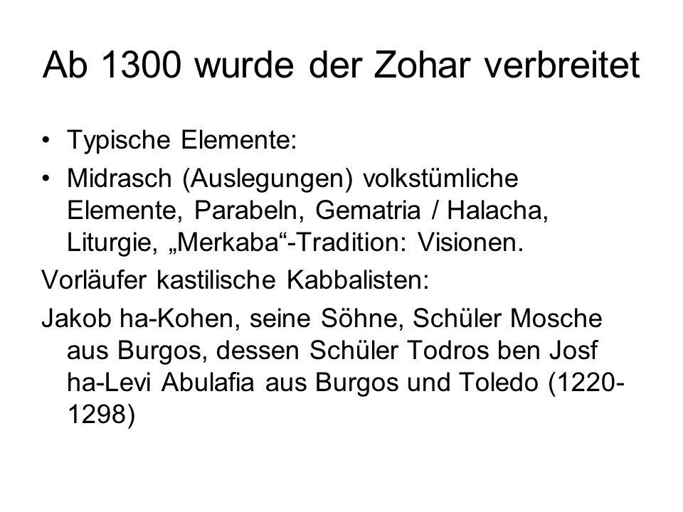 Ab 1300 wurde der Zohar verbreitet Typische Elemente: Midrasch (Auslegungen) volkstümliche Elemente, Parabeln, Gematria / Halacha, Liturgie, Merkaba-T