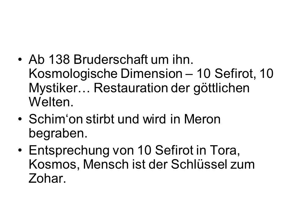 Ab 138 Bruderschaft um ihn. Kosmologische Dimension – 10 Sefirot, 10 Mystiker… Restauration der göttlichen Welten. Schimon stirbt und wird in Meron be