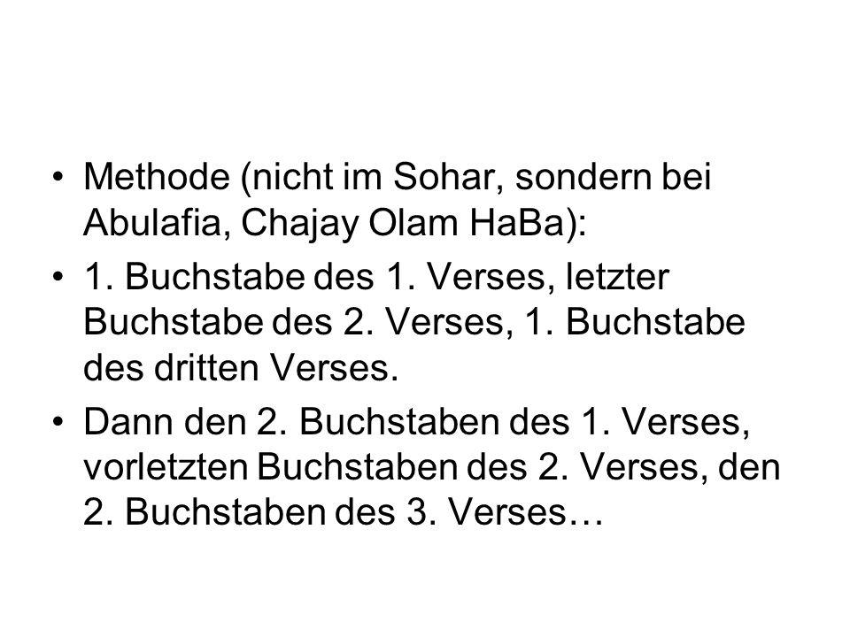 Methode (nicht im Sohar, sondern bei Abulafia, Chajay Olam HaBa): 1. Buchstabe des 1. Verses, letzter Buchstabe des 2. Verses, 1. Buchstabe des dritte