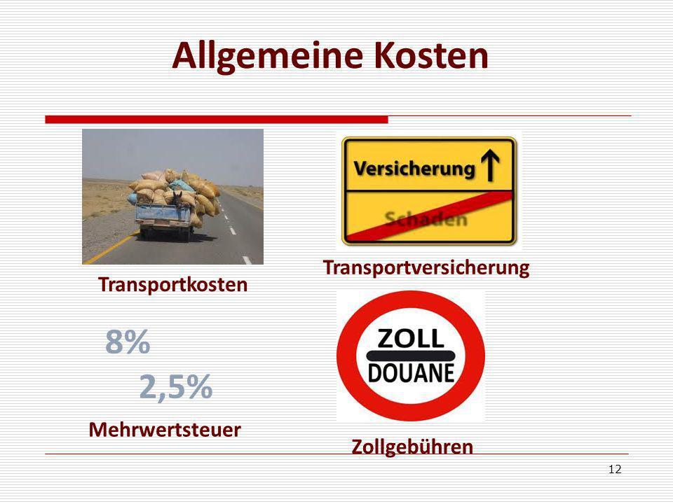 12 8% 2,5% Zollgebühren Mehrwertsteuer Transportkosten Transportversicherung Allgemeine Kosten