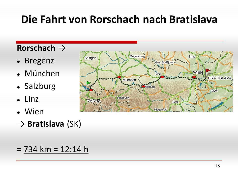 18 Die Fahrt von Rorschach nach Bratislava Rorschach Bregenz München Salzburg Linz Wien Bratislava (SK) = 734 km = 12:14 h