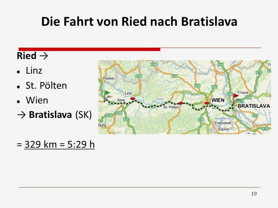 19 Die Fahrt von Ried nach Bratislava Ried Linz St. Pölten Wien Bratislava (SK) = 329 km = 5:29 h