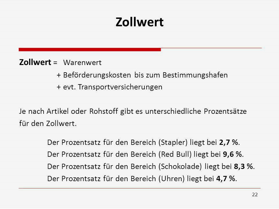 22 Zollwert Zollwert = Warenwert + Beförderungskosten bis zum Bestimmungshafen + evt.