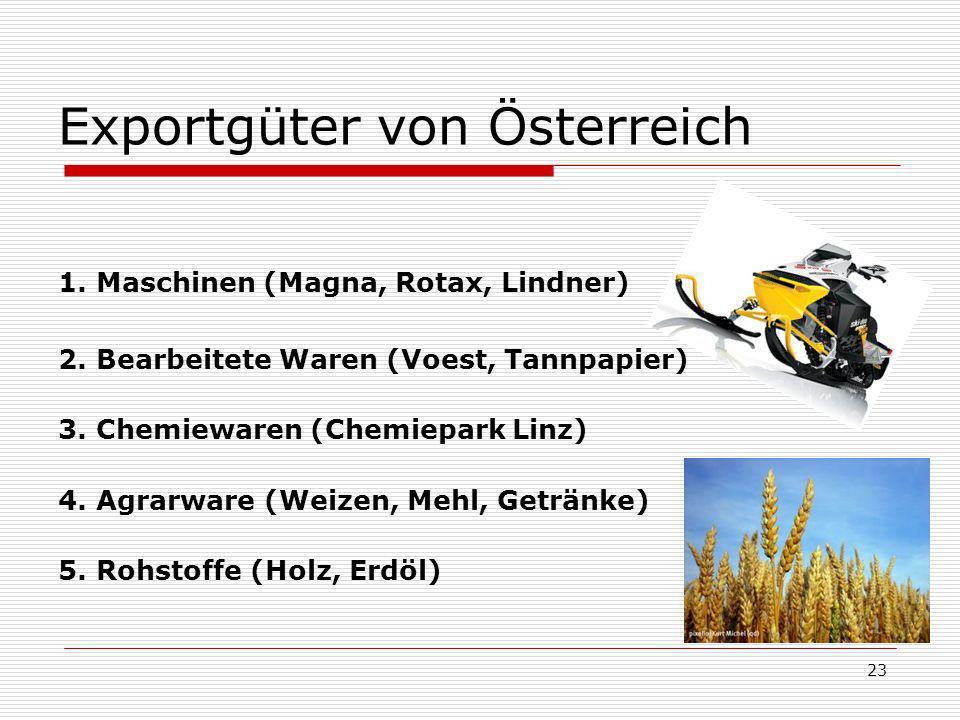 Exportgüter von Österreich 1.Maschinen (Magna, Rotax, Lindner) 2.