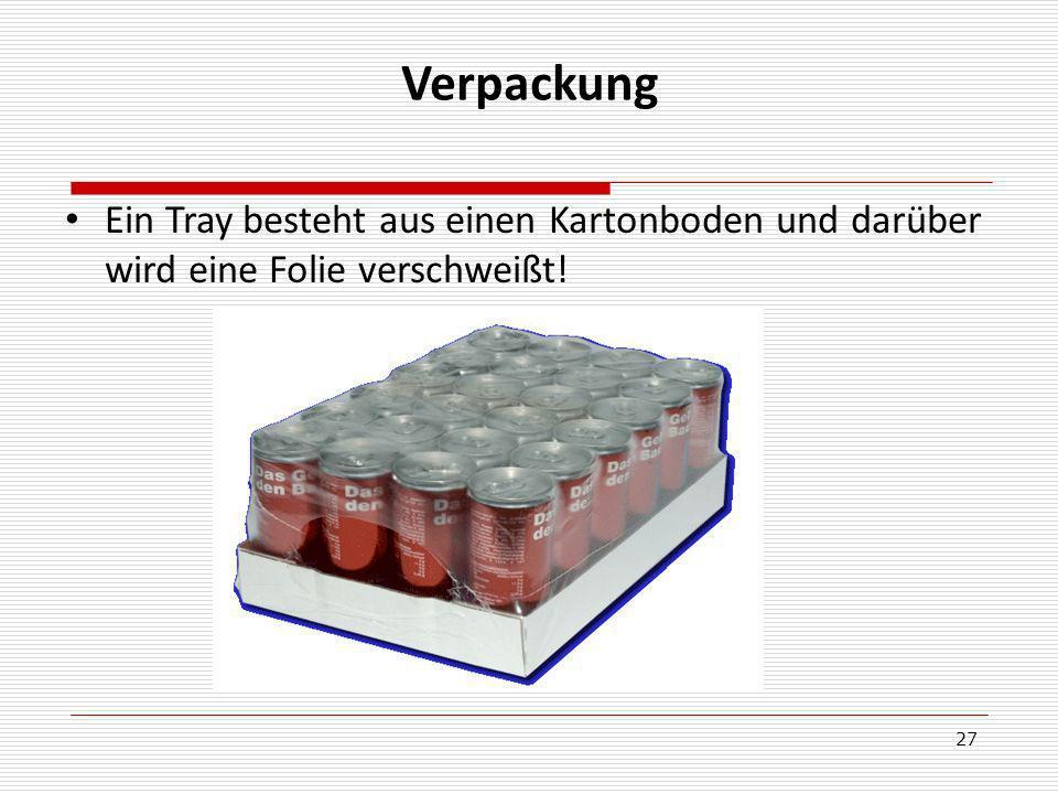 27 Verpackung Ein Tray besteht aus einen Kartonboden und darüber wird eine Folie verschweißt!