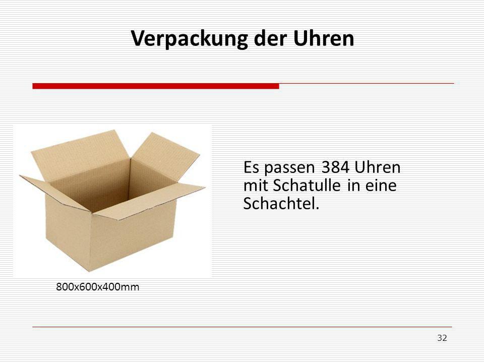 32 Verpackung der Uhren Es passen 384 Uhren mit Schatulle in eine Schachtel. 800x600x400mm