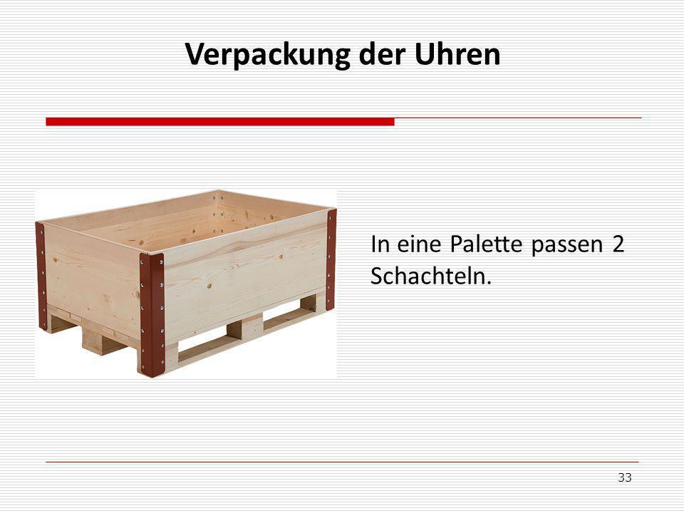 33 Verpackung der Uhren In eine Palette passen 2 Schachteln.