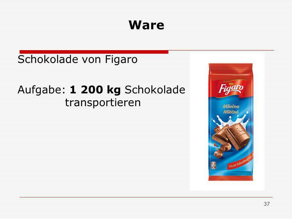37 Ware Schokolade von Figaro Aufgabe: 1 200 kg Schokolade transportieren