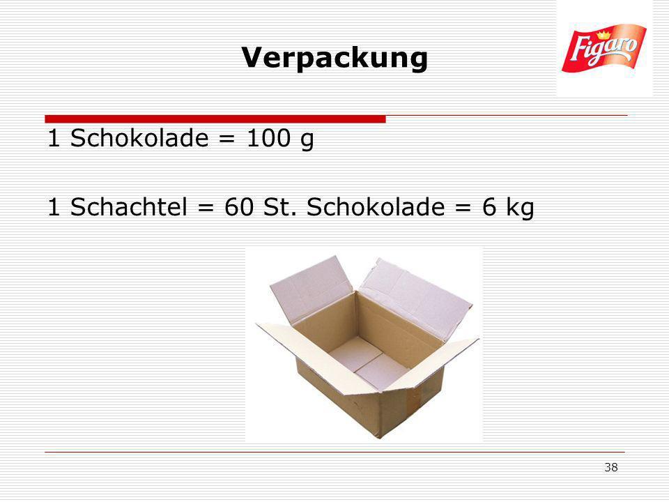 38 Verpackung 1 Schokolade = 100 g 1 Schachtel = 60 St. Schokolade = 6 kg