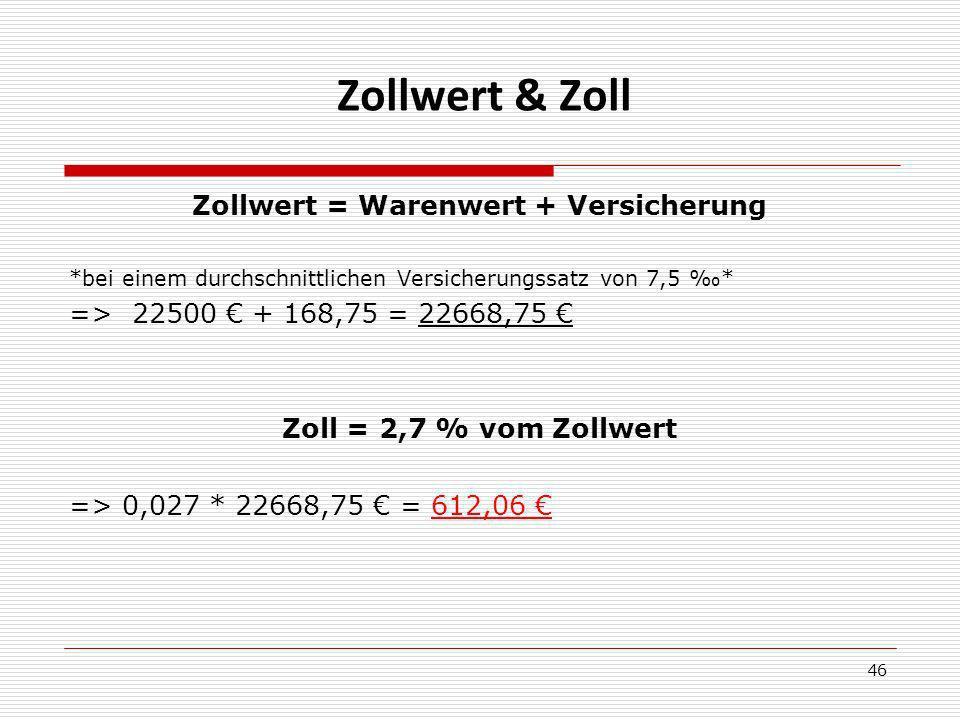 Zollwert & Zoll Zollwert = Warenwert + Versicherung *bei einem durchschnittlichen Versicherungssatz von 7,5 * => 22500 + 168,75 = 22668,75 Zoll = 2,7 % vom Zollwert => 0,027 * 22668,75 = 612,06 46